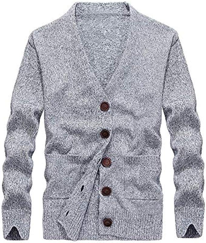 OSYARD męska kurtka z dzianiny cardigan drobny haft z wycięciem V i guzikami, długi rękaw sweter bluza sweter dziany sweter bluza top: Odzież