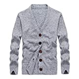 Faionny Mens Solid Knitsweater Long Knit Coat Button Cardigan Coat Long Sleeve Trench Coat Winter Outwear