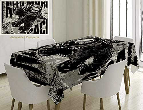 Unique Custom Cotton And Linen Blend Tablecloth Outer Space Decor Skull In Spaceman Suit Over Grunge Background Dead Spooky Halloween Theme Tablecovers For Rectangle Tables, Small Size 48 x 24 Inches]()
