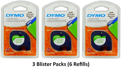 Dymo 10697 Self-Adhesive White Paper Labeling Tape for LetraTag (LT) Label Makers; 3 Blister Packs (6 Refills); Each with Two 1/2' Wide x 13ft Long (12mm x 4m) Refill Rolls