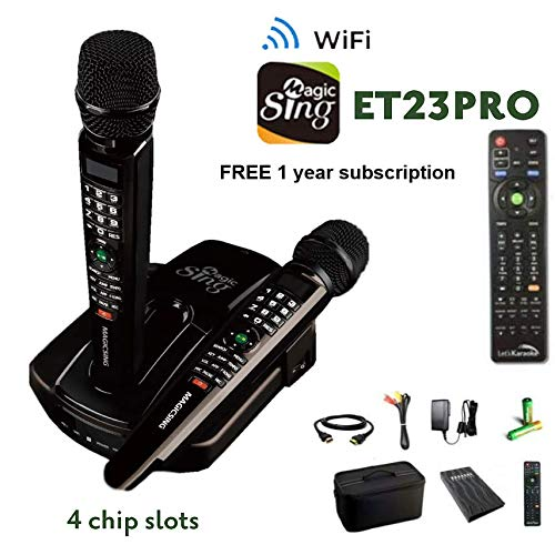 2019 ET23PRO WIFI Magic Sing Karaoke Two Wireless Mics 12,000 English +1 Year Subscription for Tagalog Hindi Spanish Russian Vietnamese Japanese Korean songs & -