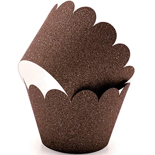 Glitter Cupcake Wrappers Adjustable, Reusable - 50 Count (Brown)