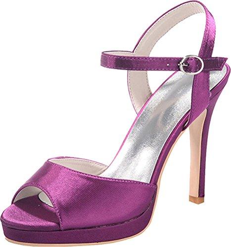 Sandalias con para mujer y tobillo 5915 tirantes 07 para Púrpura talón Vimedea 6EqnAXt
