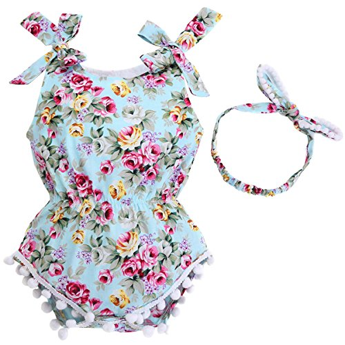 Fubin Newborn Baby Clothes Clothing Set Cotton Tassel Pompon Baby Girl Jumpsuit Rompers Summer with Headband 2 PCS Set mint green 0-6 months
