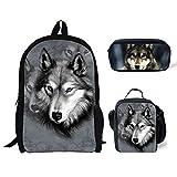 doginthehole Wolf Design Backpack One Set 3 Piece Student Shoulder School Bags
