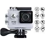Goldwangwang 1080P Full HD 2.0 inch LCD Screen Waterproof Sports Action Camera Cam DV 5MP DVR Helmet Camera Sports DV Camcorder,  Silver