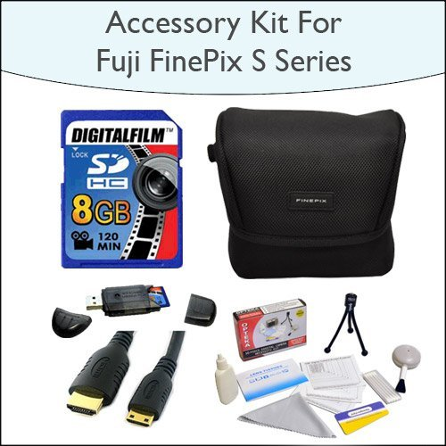 8GB Accessory Package Including 8GB SDHC High Speed Memory Card with Card Reader, Case for Fuji FinePix S Series, Mini HDMI Cable and Opteka 5 Piece Lens Cleaning Kit for Fuji FinePix s2800, s2950, s3200, s4000 and HS20EXR Digital Cameras