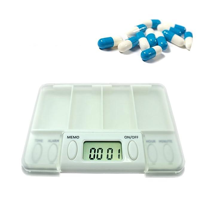 LYYY.Y Organizador De Píldoras Organizador Semanal De Medicamentos Pastillero Container Box Kit De Temporización Electrónico Inteligente Medication Timer (10 * 7.5 * 1.5Cm).LYY.YY,White