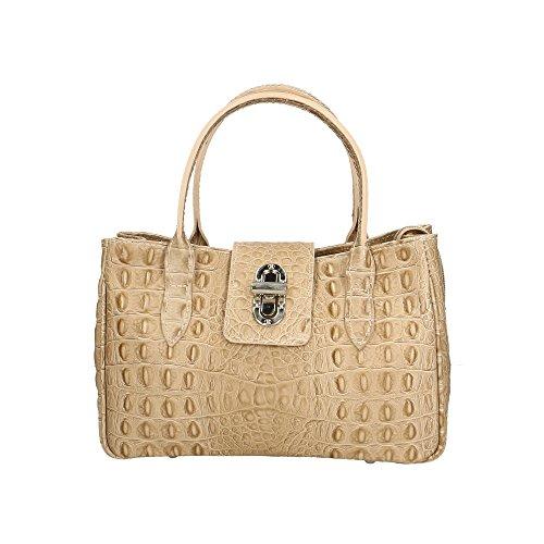 Fango Cm Donna da Aren Borsa 25x17x12 Vera Italy Made a in Handbag Pelle Mano in OAW6pHq