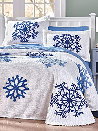 Holiday Home 2 Piece Twin Size Blue Winter Snowflake on White Background 100% Cotton Chenille Bedspread & Pillow Sham Set