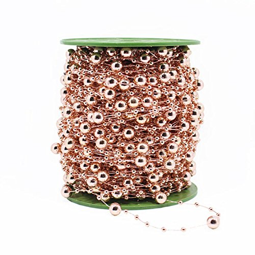 200 Feet Pearl Garland Roll of Beads Pearl String of Pearls Bead Chain Beaded Wire Pearl Strands Bead Roll for Decorating Crafts Wedding Party Supplies,Rose Gold by Sogorge (Rose Gold)