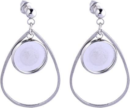 Earring cabochon stud blank settings with matching glass domes 12 mm bezel