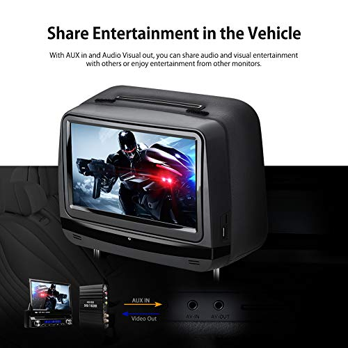 XTRONS 2x9 Inch Pair Touch Screen Car Auto Headrest DVD Player Game 1080P Video Built-in HDMI Port Headphones Included (Black) by XTRONS (Image #6)