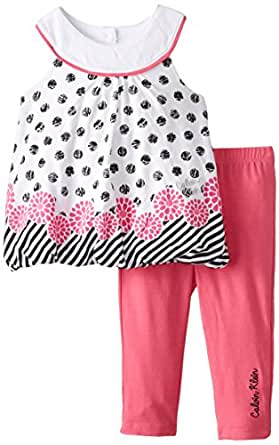 Calvin Klein Baby-Girls Newborn Polka Dots Tunic with Pink Leggings, Multi, 3-6 Months