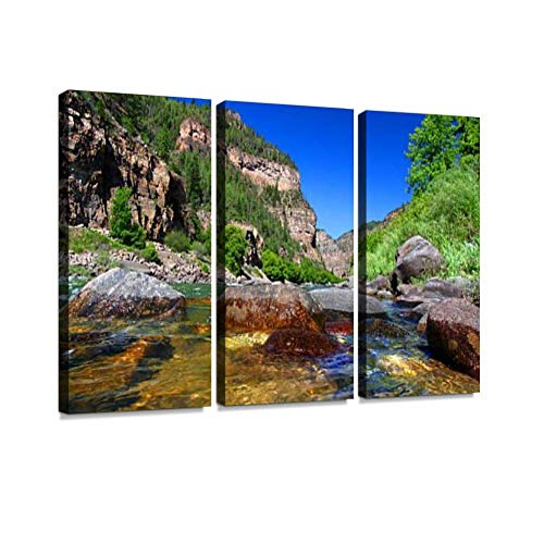 Colorado River in Glenwood Canyon Print On Canvas Wall Artwork Modern Photography Home Decor Unique Pattern Stretched and Framed 3 Piece