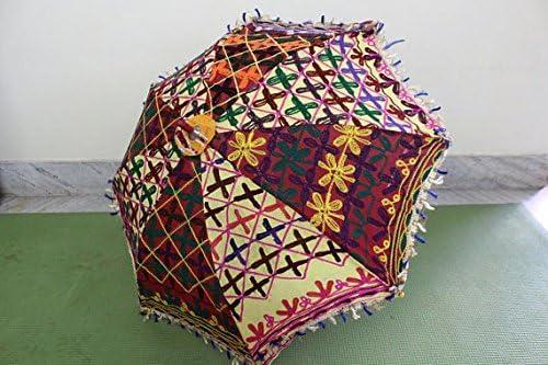 GANESHAM HANDICRAFT- Indian Decoración Artesanal Diseñador Espejo de Algodón Bordado de Trabajo Paraguas de Playa Protección UV Paraguas, Sombrilla, Bordado Boho Parasol Parasol Paraguas India Parasol: Amazon.es: Hogar