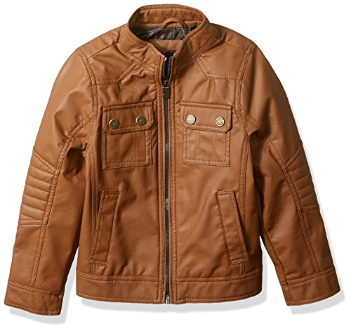 (Urban Republic Boys' Little Officers Quilted Jacket, Cognac, 4)