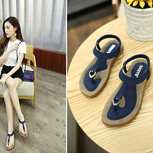 Yukong Women's Summer Sandal Fashion Flat Large Size Casual Rome Beach Shoes Blue UE41UWMzq