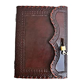 "10"" Leather Journal with Lock Writing Pad Blank Notebook Handmade Notepad Men & Women Unlined Paper Best Present Art Sketchbook Travel Diary to Write Book of Shadow Refillable Grimoire Maroon"