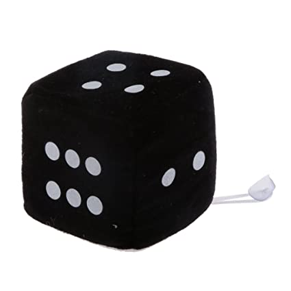 Juguetes Peluches Colgantes Forma de Dados 6 caras Ventana Percha Coche 4 Pulgadas - Negro