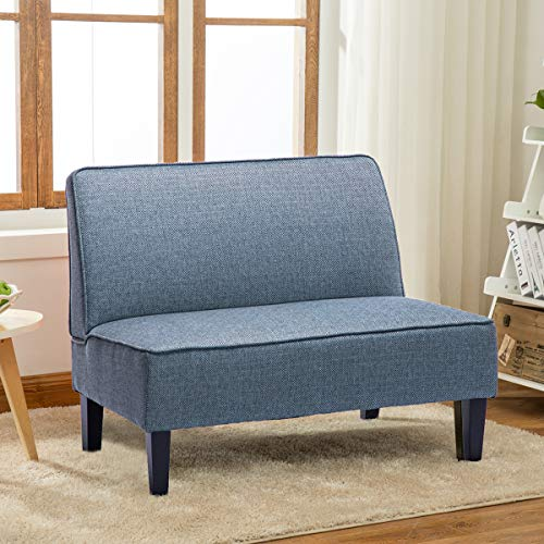 YongQiang Living Room Settee Loveseat Sofa Upholstered Cushion Linen Casual Couch with Wood Legs Blue (With Room Dining Settee)