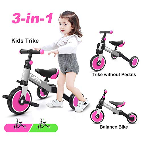 KORIMEFA 3 in 1 Kids Trike for Children 1-3 Years Old Kids Tricycle Boys Girls Baby Balance Bike 2 Wheels for Toddlers Tricycle with Removable Pedals, Pink