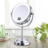 Cheap LED Lighted Makeup Magnification Mirror 6″ 3X Magnified Double-Sided Round Magnifying Mirror Standing 360 Degree Swivel Daylight Tabletop Vanity Mirror Battery and USB Operated By Fairycity
