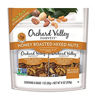 Orchard Valley Harvest HARVEST Honey Roasted Mixed Nuts, 1 oz (Pack of 8), Non-GMO, No Artificial Ingredients