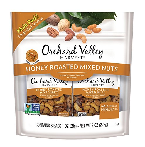 ORCHARD VALLEY HARVEST Honey Roasted Mixed Nuts, Non-GMO, No Artificial Ingredients, 1 oz (Pack of 8) ()