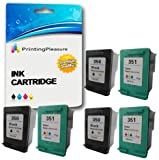 Printing Pleasure 6 XL (3 SETS) Remanufactured Ink Cartridges Replacement for HP 350XL 351XL Photosmart C4280 C4380 C4480 C4485 C4580 C5280 D5360 Deskjet D4260 D4360 - Black/Colour, High Capacity