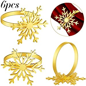 Boao 6 Pieces Christmas Snowflake Napkin Rings Gold Snowflake Napkin Holder Rings for Christmas Holiday Table Decoration Supplies