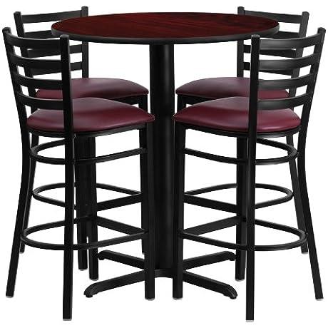 30 Round Laminate Table Set With 4 Ladder Back Metal Bar Stools Burgundy Vinyl Seat Mahogany