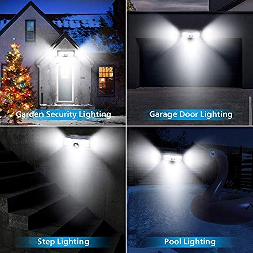 ECO LLC Solar Lights 136 LED Waterproof Outdoor Wall Lights Wireless Solar Motion Sensor Lights for Front Door,Backyard, Garage,Porch,Deck, Driveway(4 Pack) by ECO LLC (Image #1)