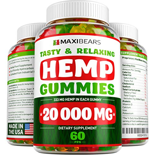 Hemp Gummies - 20000 MG - 333 MG per Gummy - Pain, Stress, Insomnia & Anxiety Relief - Made in USA - Tasty & Relaxing Herbal Gummies - Premium Extract - Mood & Immune Support (Best Medical Marijuana For Pain)