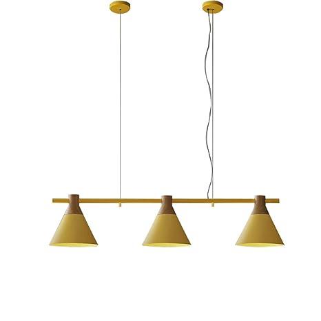 zmh LED Lámpara colgante Comedor Lámpara de techo de madera y metal ...