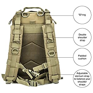 WolfWarriorX Military Tactical Assault Backpack Hiking Bag Extreme Water Resistant Small Rucksack Molle Bug Out Bag for Traveling, Camping, Trekking & Hiking (O.D.Green)