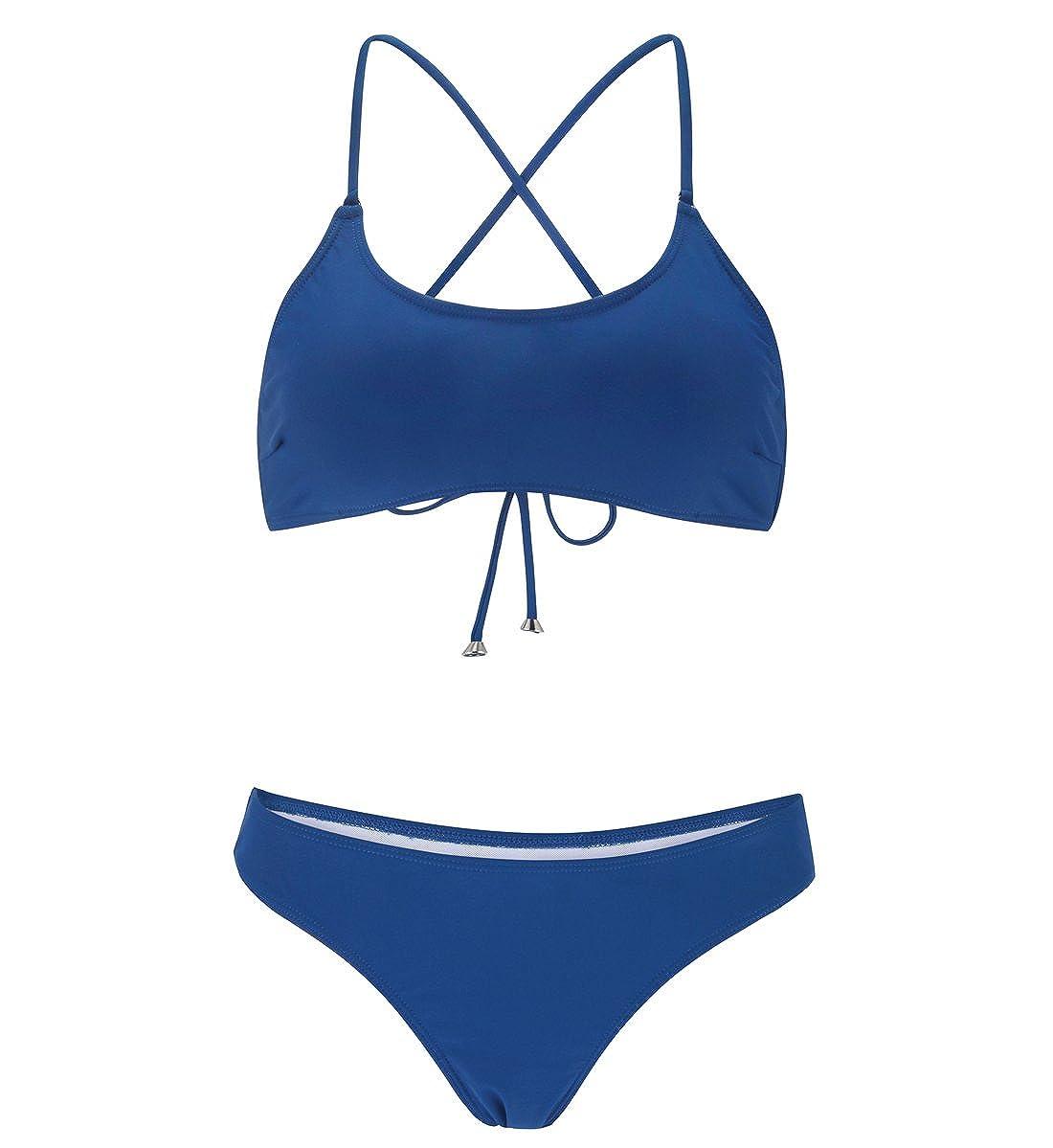bluee stripsky Strappy Cross Back Bikini Set, Sporty Padded Solid Floral Print Brazilian Swimsuit for Women