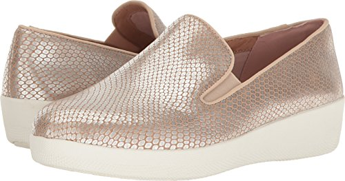 (FitFlop Women's Superskate Leather Flat Loafer, Silver Snake, 8.5 M US)