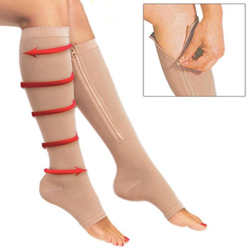 Unknown Large Zipper Easy On Compression Beige Socks XX-Large, Beige