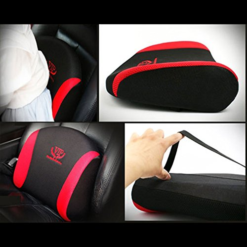 vip red black mesh memory form car seat cushions waist back cushion pillow pad for car motors. Black Bedroom Furniture Sets. Home Design Ideas