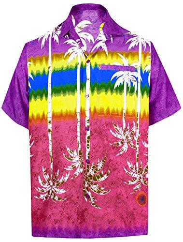 LEELA Likre Soft Silk Printed Shirt Violet 268 2XL |Chest 54