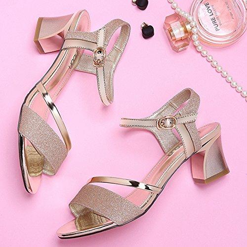 tacones silvery verano y hebillas RUGAI sandalias altos de Zapatos de de damas UE moda x61SOq6Pw