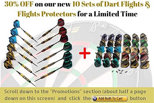 IgnatGames Steel Tip Darts Set - Professional Darts with Aluminum Shafts, Rubber O'Rings, and Extra Flights + Dart Sharpener + Innovative Case + Darts Guide (20g Black Furry)