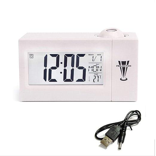 Radio Despertador Digital Madera Reloj Despertador Proyección De ...