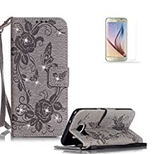 Samsung Galaxy S7 Case Cover [with Free Screen Protector], Funyye Classic Premium Folio 3D Patterns PU Leather Wallet Magnetic Flip Cover with [Wrist Strap] and [Credit Card Holder Slots] Glitter Sparkle Rhinestone Butterfly Flowers Pattern Design Stand Up Protective Holster Folder Case Cover for Samsung Galaxy S7 - Gray