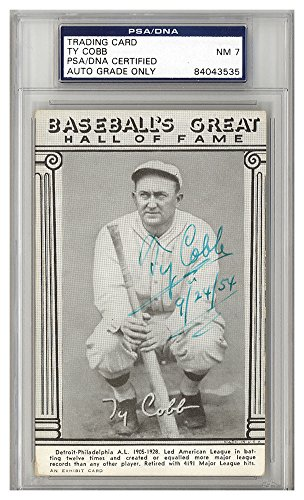 Ty Cobb Autographed Signed Baseball's Great Hall Of Fame Exhibit Card Detroit Tigers 9/24/54 Auto Grade 7 - PSA/DNA Authentic