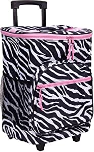 Zebra Insulated Rolling Cooler Bag with Telescoping Handle, 16-inch, 21-quart Wheeled Cooler