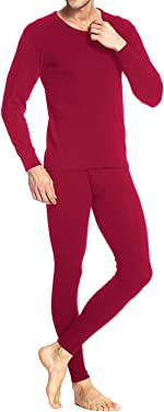 iWoo Men Long Thermal Underwear 2 Pieces Breathable Elastic Thin Johns