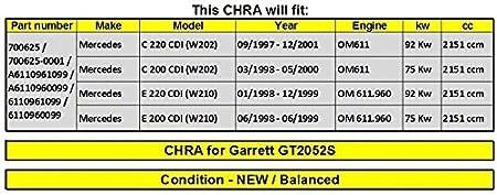 Amazon.com: GOWE Turbocharger for Turbocharger GT2052S 700625 700625-0001 A6110961099 A6110960099 6110961099 Cartridge for Mercedes C 220 C 200 E 220 E 200 ...