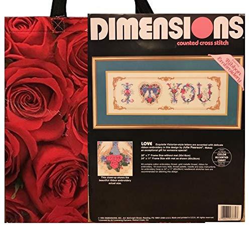 Dimensions Vintage Needlework Kit & Red Roses Tote Bag Gift Bundle